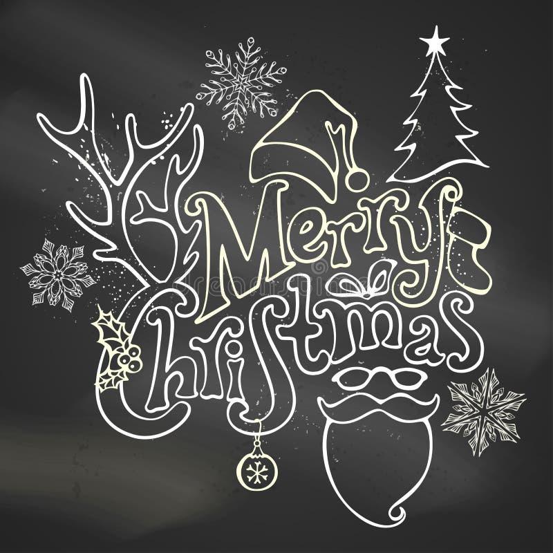 Chalk Merry Christmas Decoration. Christmas ball, hand-written text, holly berry, fir, antlers of a deer, bow, Santa sock, Santa hat, Santa beard and glasses vector illustration
