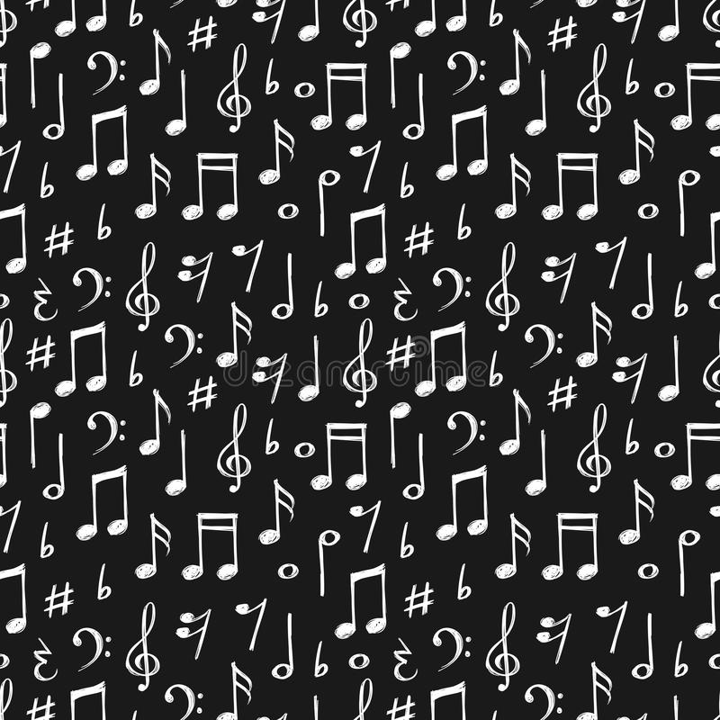 Chalk music notes and signs seamless pattern. Hand drawn music background stock illustration
