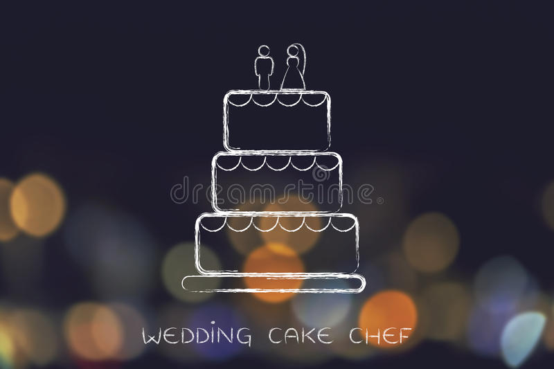 Chalk outline of wedding cake. Customized wedding cake, concept of professional catering services stock images
