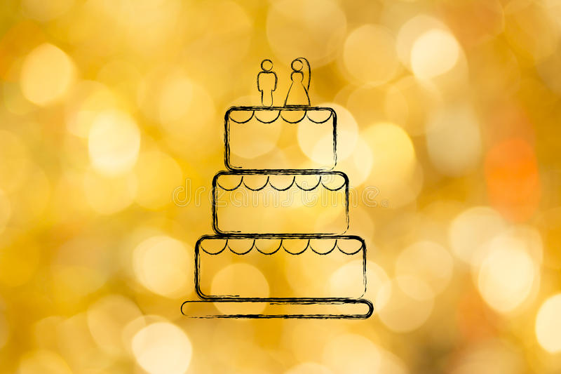 Chalk outline of wedding cake. Customized wedding cake, concept of professional catering services stock photos