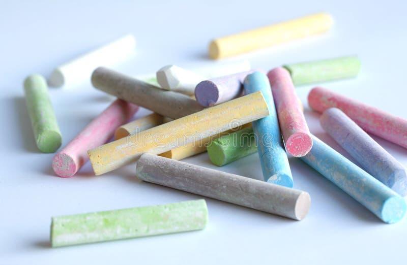 Chalk pastel sticks of various colors stock photo