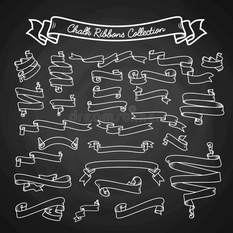 Chalk ribbons ollection hand draw on black board vector illustration stock illustration