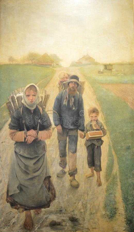 The chalk sellers - In the morning, painting by Léon Frédéric. The painting made in 1882 is depicting a poor family going to work in the morning. Lé stock image