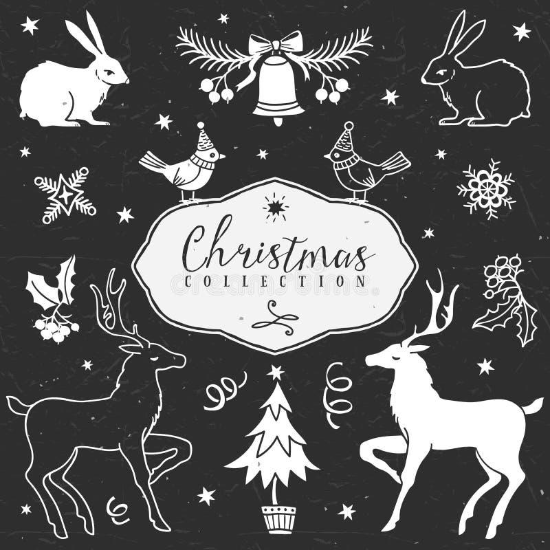 Chalk set of decorative christmas festive illustrations. vector illustration