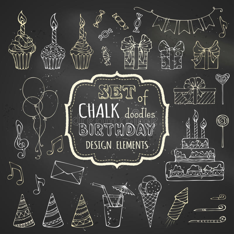 Free Chalk Set Of Hand-drawn Birthday Design Elements. Stock Images - 59623724