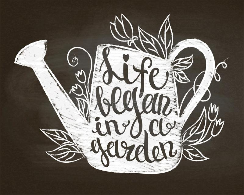 Chalk silhouette of vintage watering can with leaves and flowers and lettering - Life began in a garden on chalk board. vector illustration
