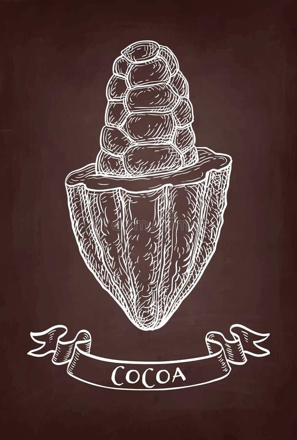 Chalk sketch of cocoa. Cocoa pod. Chalk sketch on blackboard background. Hand drawn vector illustration. Retro style vector illustration