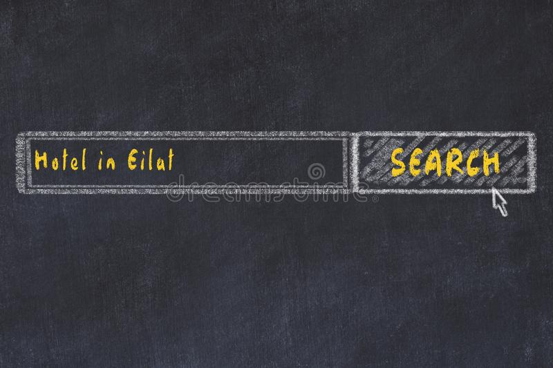 Chalk sketch of search engine. Concept of searching and booking a hotel in Eilat.  stock photos