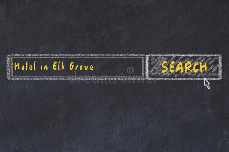 Chalk sketch of search engine. Concept of searching and booking a hotel in Elk Grove.  royalty free illustration