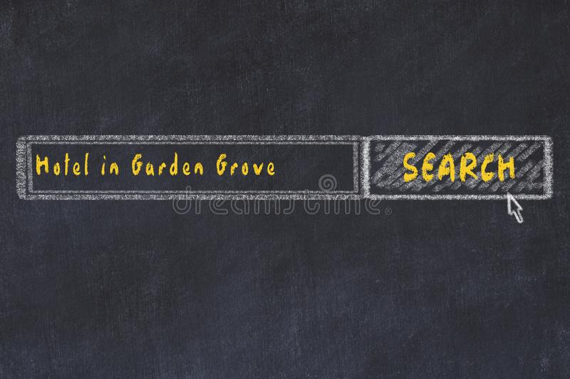 Chalk sketch of search engine. Concept of searching and booking a hotel in Garden Grove.  stock illustration