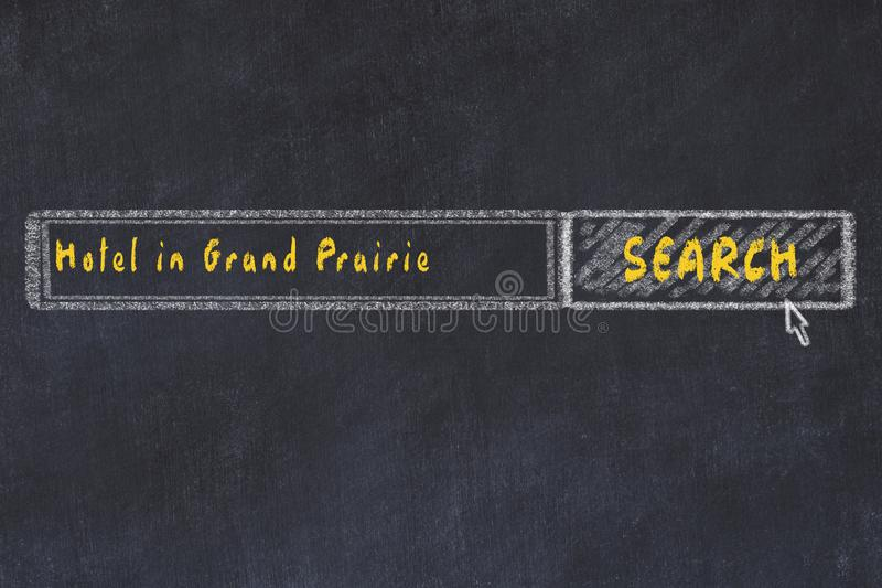 Chalk sketch of search engine. Concept of searching and booking a hotel in Grand Prairie royalty free illustration