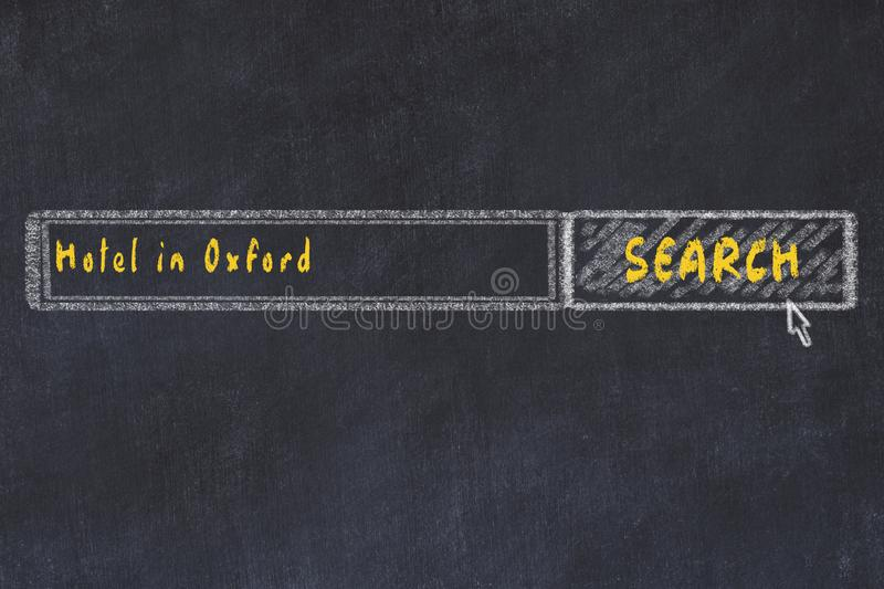 Chalk sketch of search engine. Concept of searching and booking a hotel in Oxford.  stock illustration