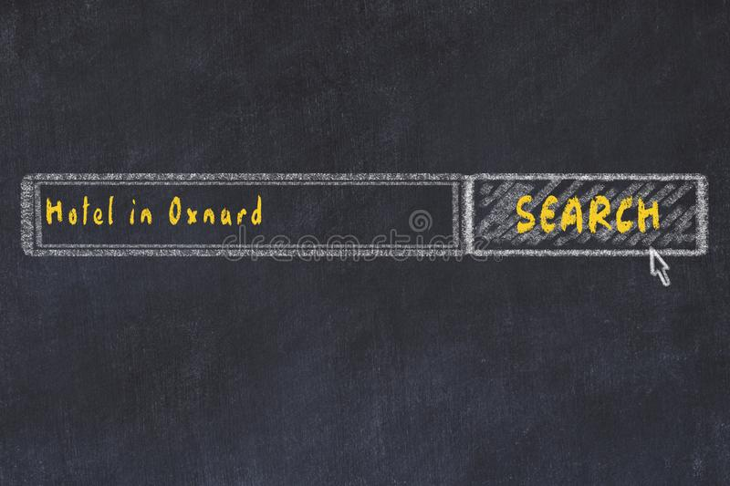 Chalk sketch of search engine. Concept of searching and booking a hotel in Oxnard.  stock photo