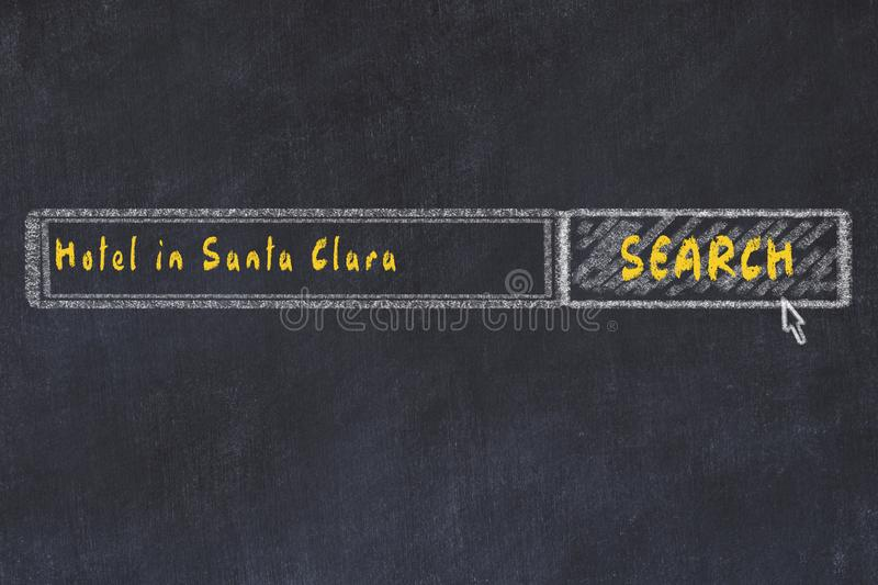 Chalk sketch of search engine. Concept of searching and booking a hotel in Santa Clara.  vector illustration