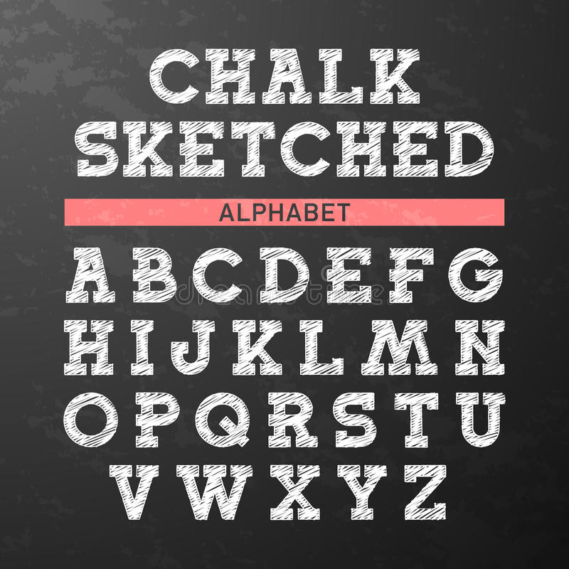 Free Chalk Sketched Font, Alphabet Royalty Free Stock Image - 44465536