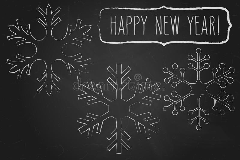 Chalk snowflakes frame and New Year greetings vector illustration