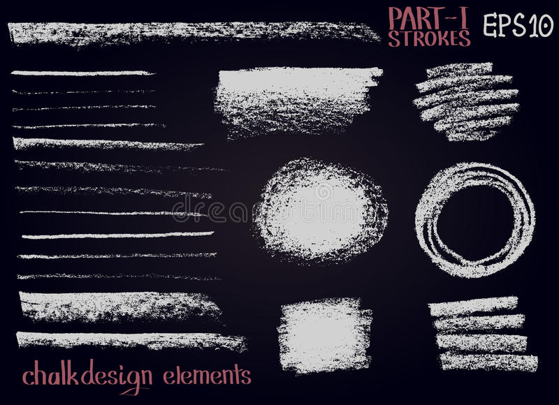 Chalk texture design elements Lines, stripes, strokes, round and rectangle shapes, frames on black board. vector illustration