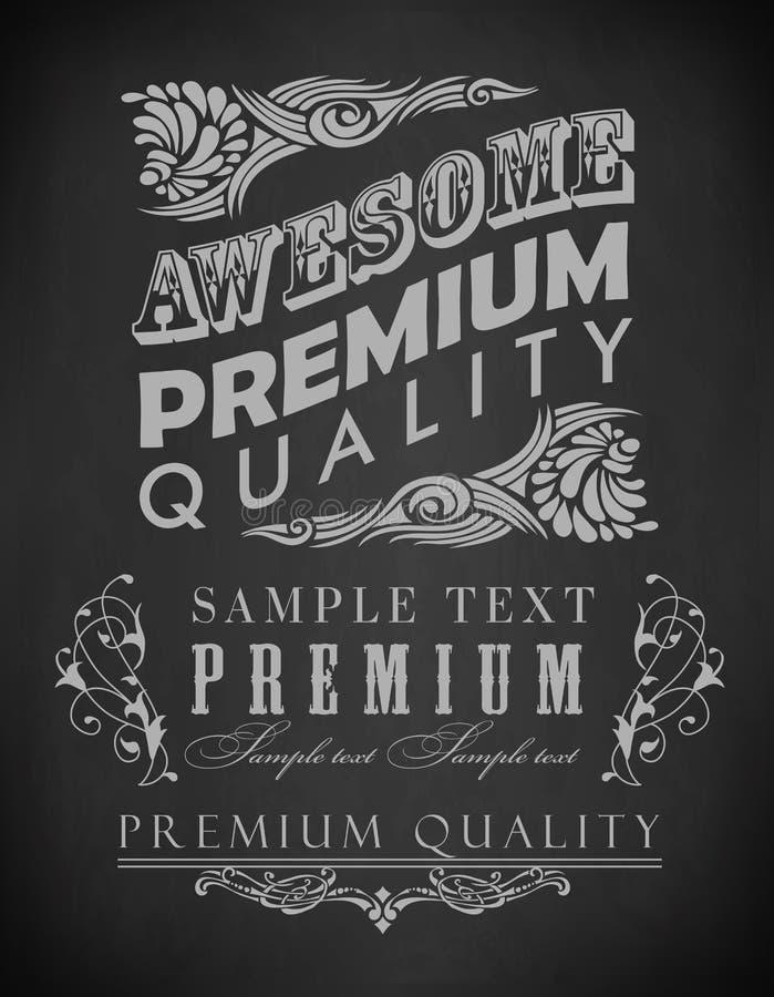 Chalk typography, calligraphic design elements royalty free illustration