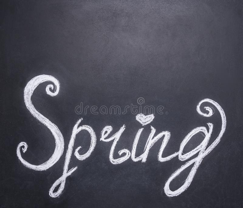 Chalk writing on the spring board, border,with text area stock photo