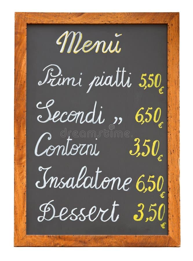 Chalkb italiano do menu do restaurante fotografia de stock