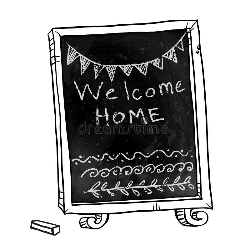 chalkboard Ευπρόσδεκτο εγχώριο σημάδι διανυσματική απεικόνιση