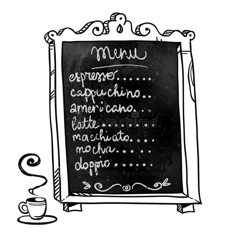 chalkboard συρμένο χέρι Επιλογές καφετεριών απεικόνιση αποθεμάτων