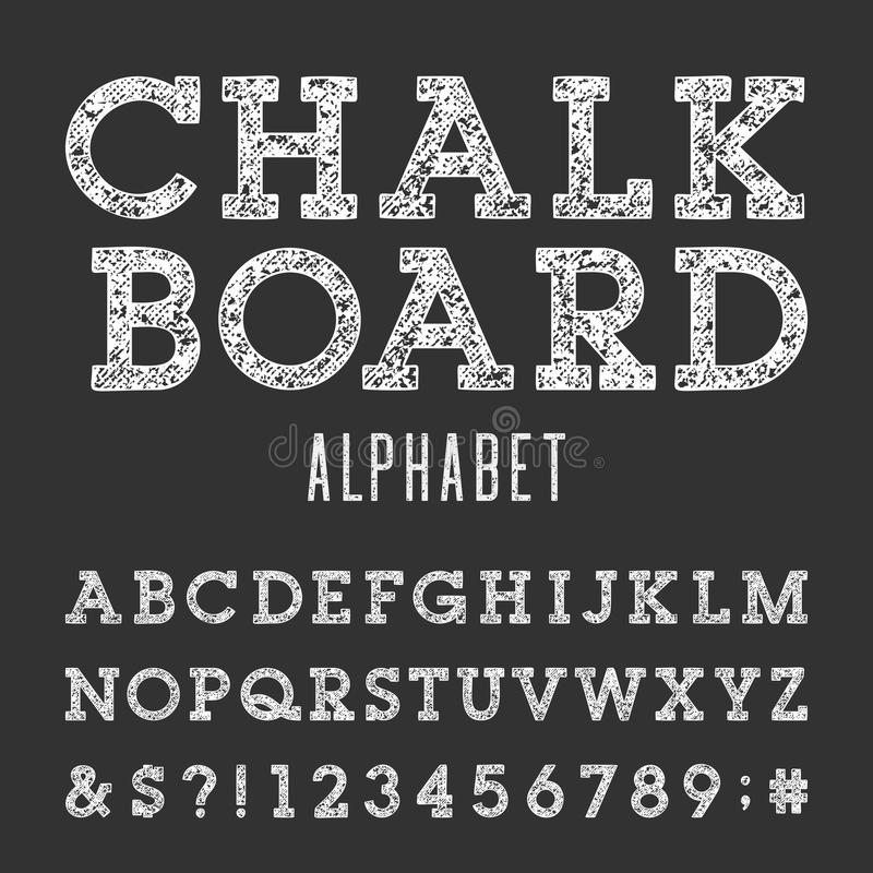 blackboard with white letters chalkboard alphabet vector font stock vector image 20621