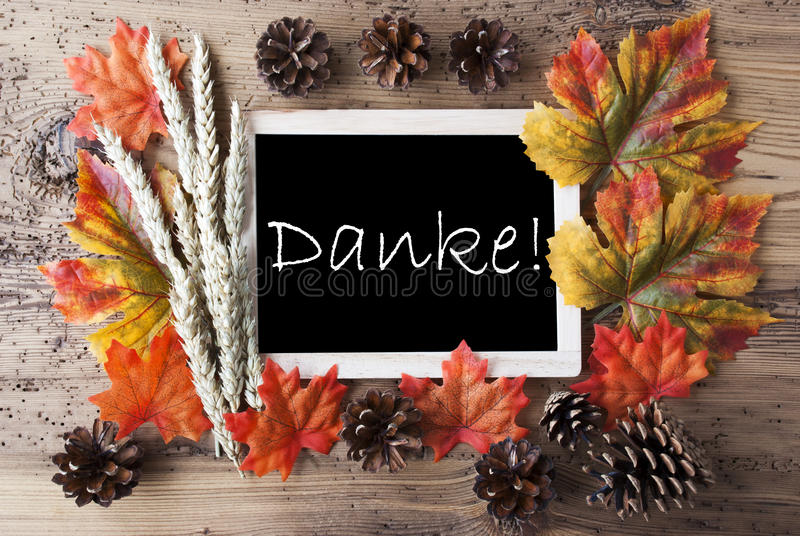 Chalkboard With Autumn Decoration, Danke Means Thank You royalty free stock photos