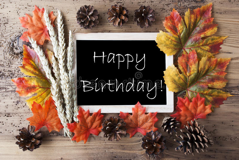 Download Chalkboard With Autumn Decoration Happy Birthday Stock Photo