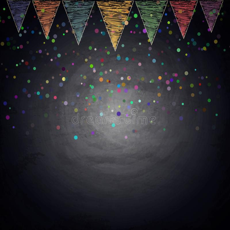 Chalkboard background with drawing bunting flags and confetti. Vector illustration royalty free stock photography