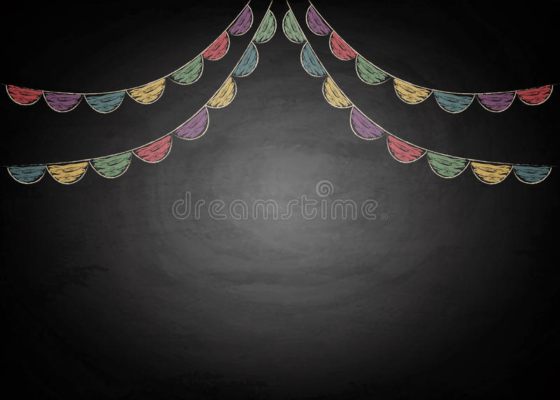 Chalkboard background with drawing bunting flags. Vector illustration royalty free illustration