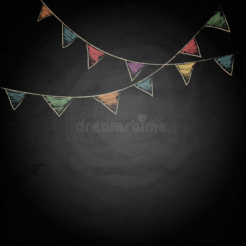 Chalkboard background with drawing bunting flags. Vector texture EPS10 stock illustration