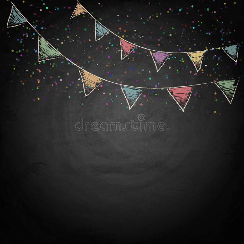 Chalkboard background with drawing bunting flags. Vector texture EPS10 royalty free illustration