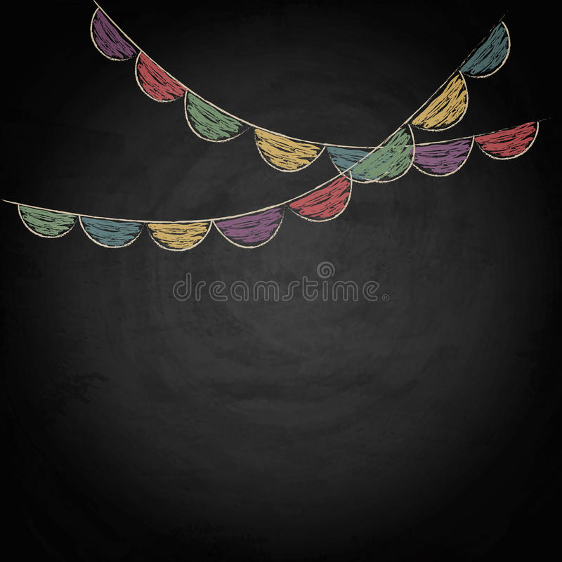 Chalkboard background with drawing bunting flags. Vector texture EPS10 vector illustration