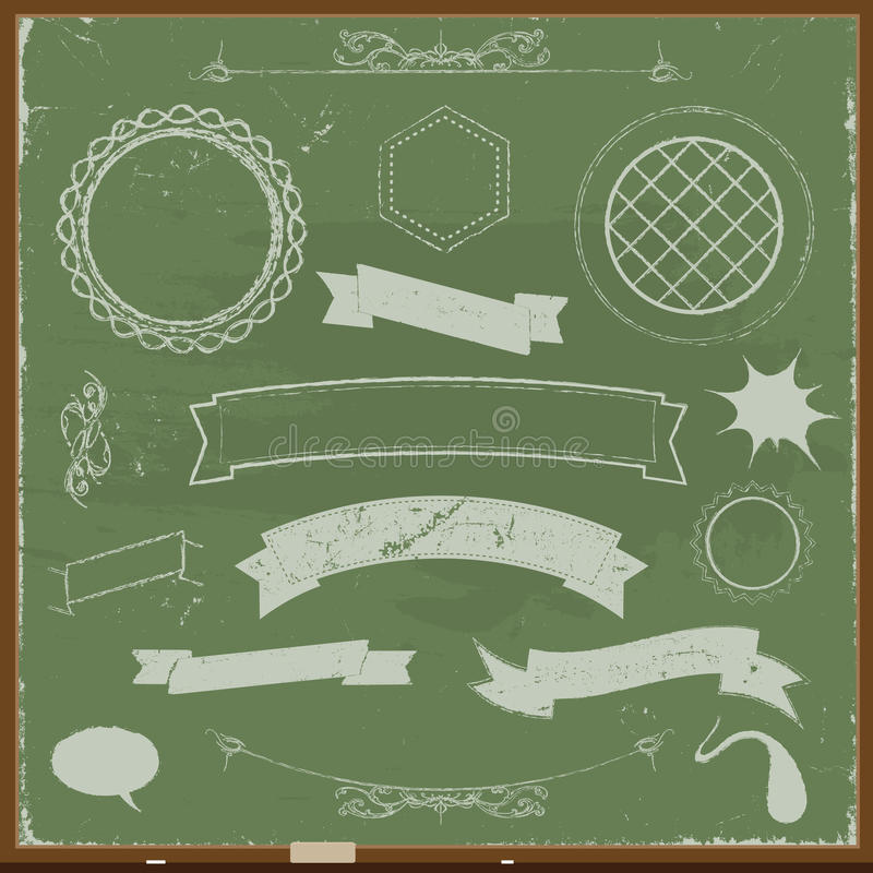 Chalkboard Banners And Design Elements vector illustration