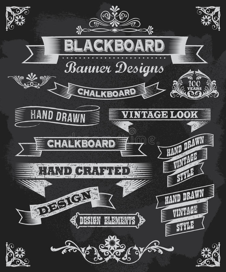 Chalkboard banners and vector frames stock illustration