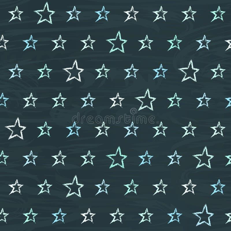 Chalkboard bezszwowy wzór z ręki rysować gwiazdami ilustracja wektor