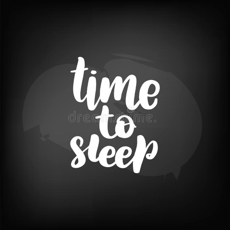 Blackboard lettering time to sleep vector illustration