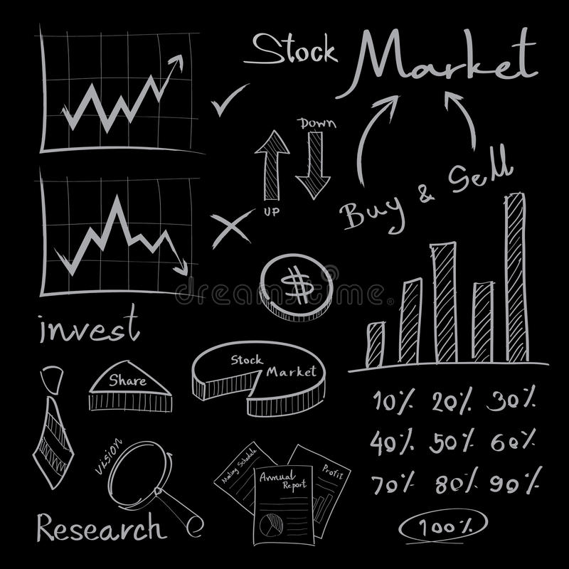 Chalkboard business icons royalty free stock photo