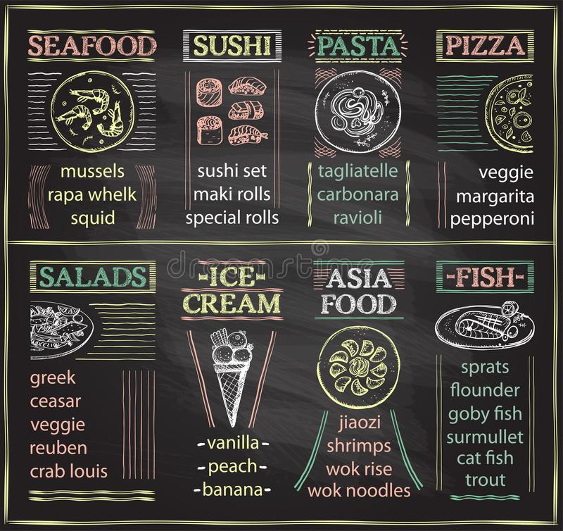 Chalkboard cafe menu with seafood, sushi, pasta, pizza, salads, ice-cream, asia food and fish dish royalty free illustration