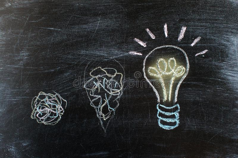 Chalkboard with Chalk Drawing of Hanging Light Bulb. Bright idea stock photography