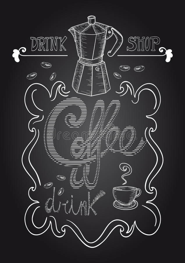 Chalkboard Coffee Shop Illustration Stock Vector Image