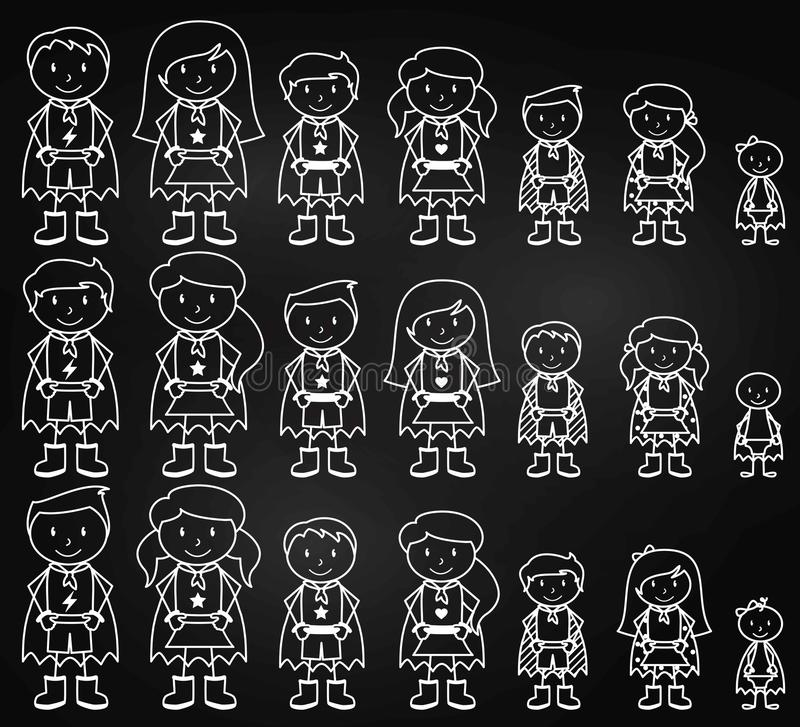 Chalkboard Collection of Diverse Stick Figure Superheroes or Superhero Families stock illustration