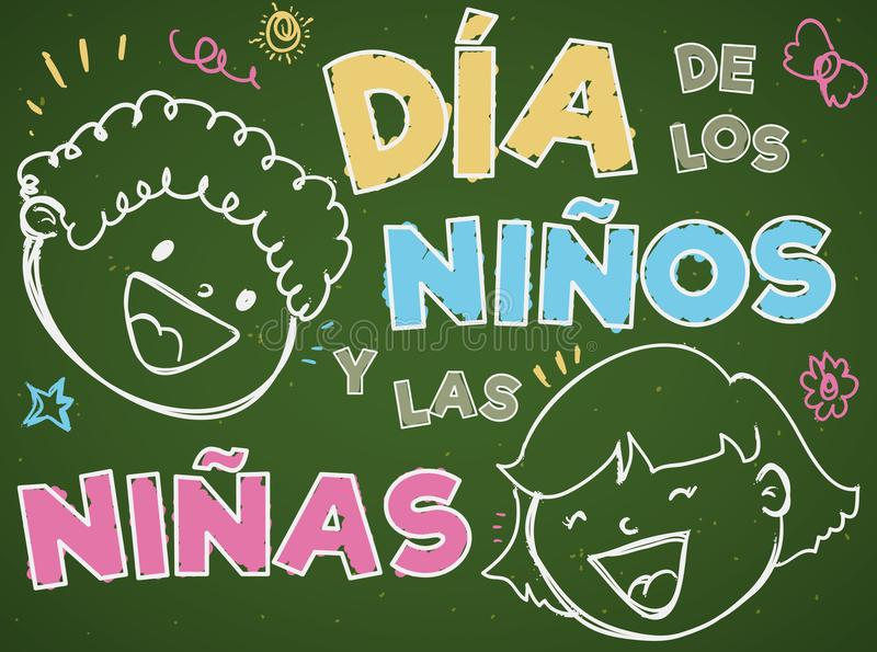Chalkboard with Kids in Doodle Style for Children`s Day, Vector Illustration vector illustration