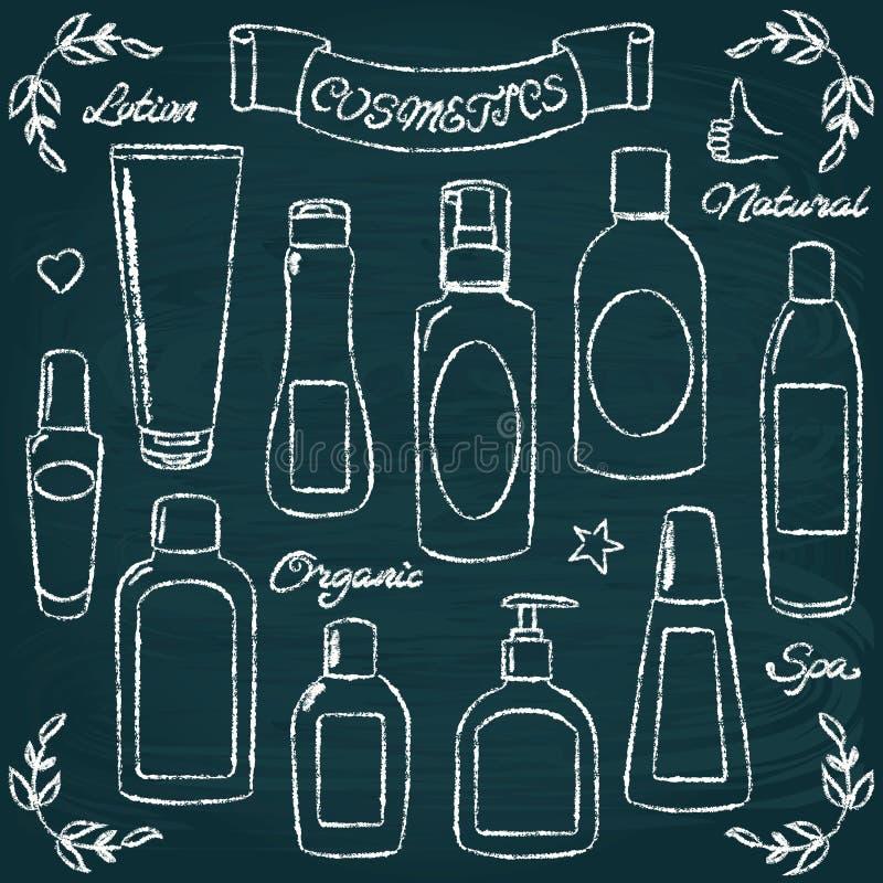 Free Chalkboard Cosmetic Bottles Set 1 Royalty Free Stock Image - 45093526
