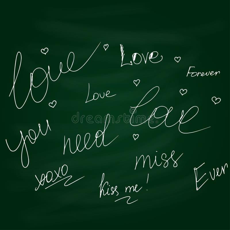 Chalkboard doodle hand drawn graphic set of love. Vector vector illustration