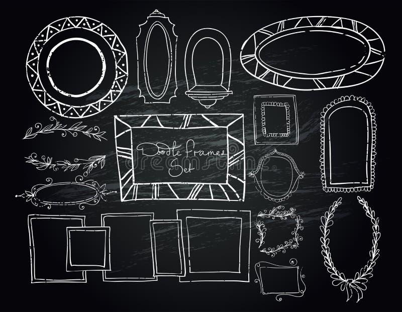 Chalkboard doodle ramy ustawiać royalty ilustracja