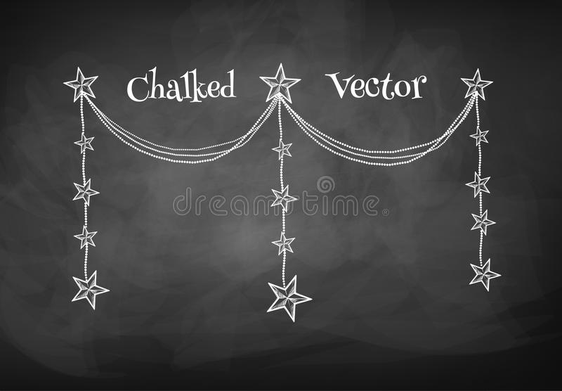 Chalkboard drawing of garland royalty free illustration