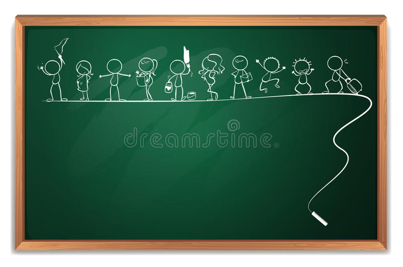A chalkboard with a drawing of kids playing different sports. Illustration of a chalkboard with a drawing of kids playing different sports on a white background vector illustration