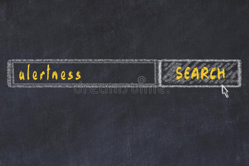 Chalkboard drawing of search browser window and inscription alertness.  stock image
